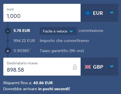 commissioni TransferWise per inviare denaro all'estero EUR GBP